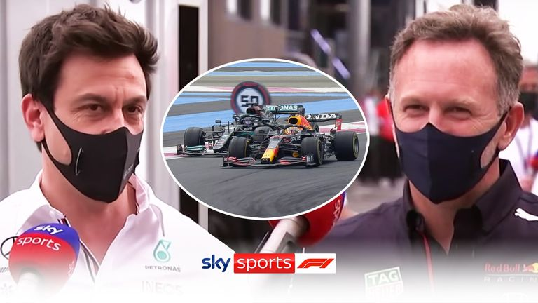 Mercedes team principal Toto Wolff and Red Bull team principal Christian Horner look back on an incredible battle between Lewis Hamilton and Max Verstappen at the French GP.