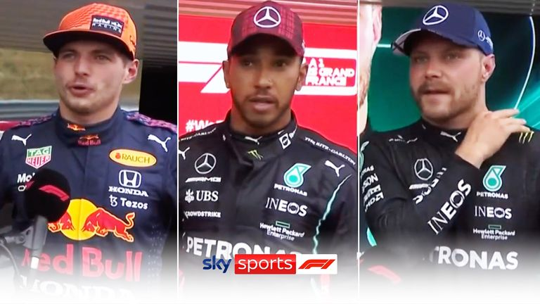 Max Verstappen, Lewis Hamilton and Valtteri Bottas took the top three spots in qualifying ahead of the French Grand Prix.