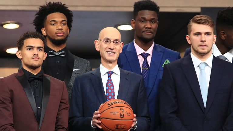 BA Commissioner Adam Silver (C) poses with NBA Draft Prospects Trae Young, Marvin Bagley III, Deandre Ayton and Luka Doncic before the 2018 NBA Draft at the Barclays Center on June 21, 2018 in the Brooklyn borough of New York City.