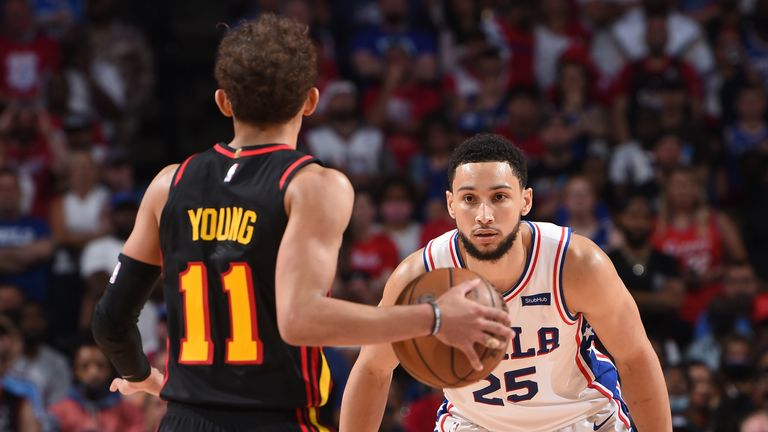 PHILADELPHIA, PA - JUNE 20: Ben Simmons #25 of the Philadelphia 76ers plays defense against Trae Young #11 of the Atlanta Hawks during Round 2, Game 7 of the Eastern Conference Playoffs on June 20, 2021 at Wells Fargo Center in Philadelphia, Pennsylvania. NOTE TO USER: User expressly acknowledges and agrees that, by downloading and/or using this Photograph, user is consenting to the terms and conditions of the Getty Images License Agreement. Mandatory Copyright Notice: Copyright 2021 NBAE (Photo by David Dow/NBAE via Getty Images)