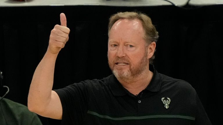 Milwaukee Bucks head coach Mike Budenholzer reacts during the first half of Game 4 of the NBA Eastern Conference basketball semifinals game against the Brooklyn Nets Sunday, June 13, 2021, in Milwaukee. (AP Photo/Morry Gash)