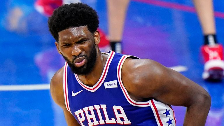 hiladelphia 76ers' Joel Embiid reacts after making a basket during the second half of Game 5 in a second-round NBA basketball playoff series against the Atlanta Hawks, Wednesday, June 16, 2021, in Philadelphia.