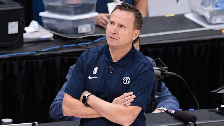 Washington Wizards head coach Scott Brooks looks on during the first half of Game 4 in a first-round NBA basketball playoff series against the Philadelphia 76ers, Monday, May 31, 2021, in Washington. (AP Photo/Nick Wass).