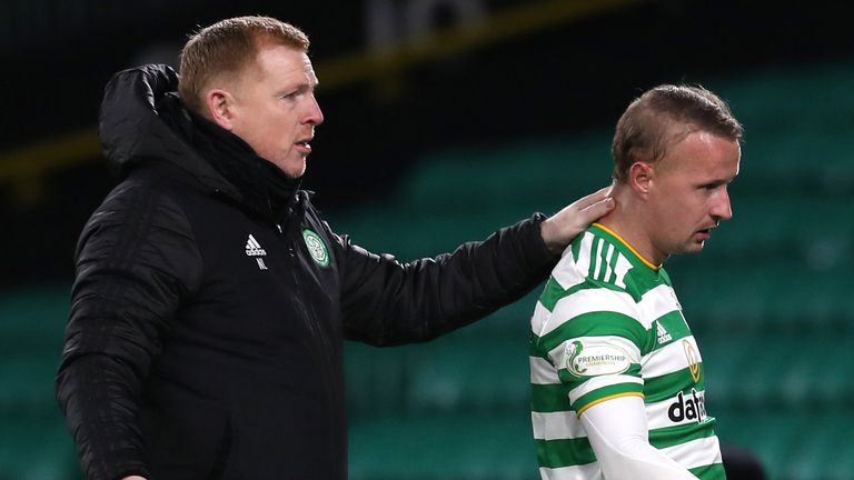 Neil Lennon has claimed Leigh Griffiths was a stone overweight when he returned to Celtic training after lockdown