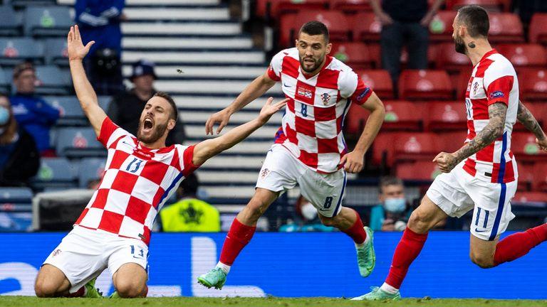 Nikola Vlasic celebrates after scoring to make it 1-0 Croatia during a Euro 2020 match between Croatia and Scotland at Hampden Park