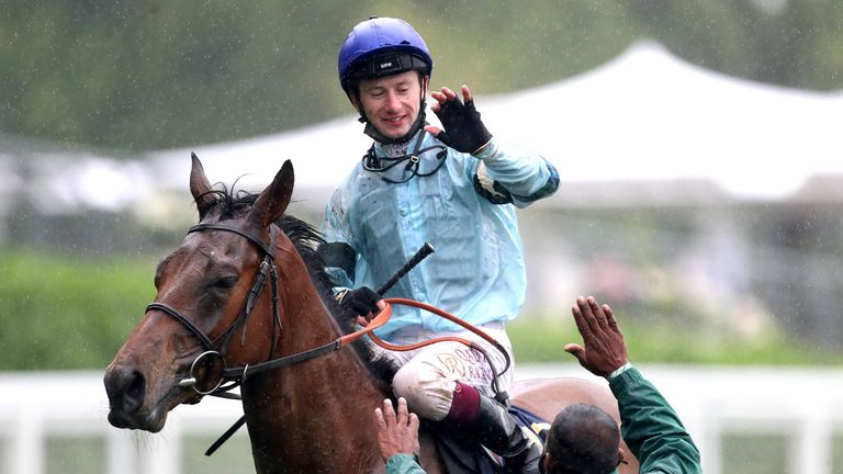 Oisin Murphy celebrates after victory in the Duke of Edinburgh Stakes at Royal Ascot on Quickfire