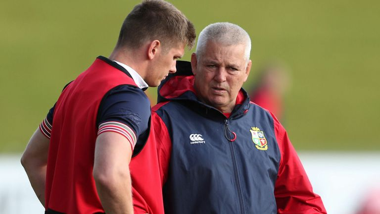 British & Irish Lions head coach Warren Gatland with Owen Farrell during the training session at the QBE Stadium, Auckland. PRESS ASSOCIATION Photo. Picture date: Monday June 5, 2017. See PA story RUGBYU Lions. Photo credit should read: David Davies/PA Wire. RESTRICTIONS: Editorial use only. No commercial use or obscuring of sponsor logos.