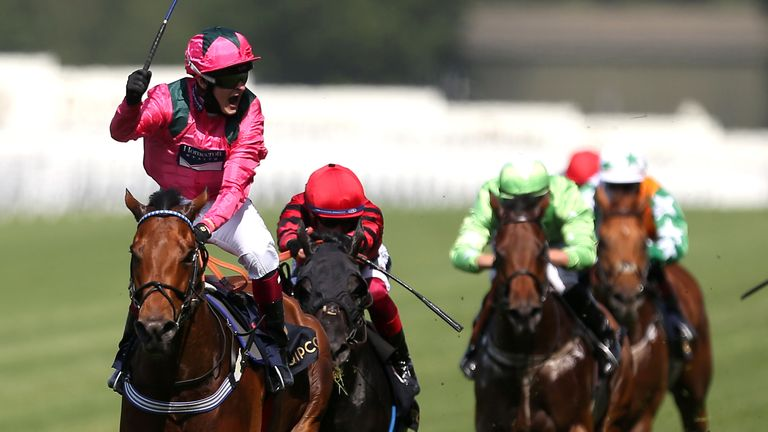 Cieren Fallon celebrates victory on Oxted in the King's Stand Stakes at Royal Ascot