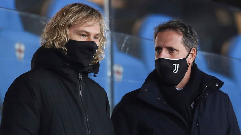Pictured here with Pavel Nedved (L) in December, chief football officer Fabio Paratici left Juventus in May after 11 seasons at the club