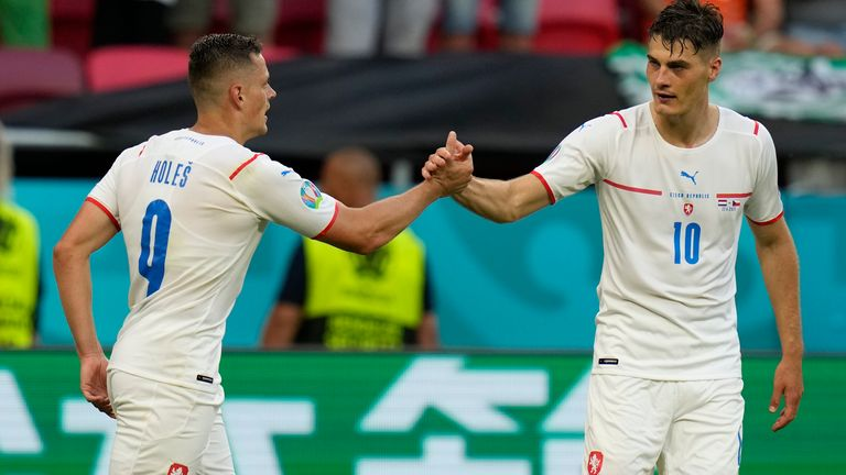 Czech Republic's Patrik Schick, right, celebrates with Czech Republic's Tomas Holes after scoring his sides second goal