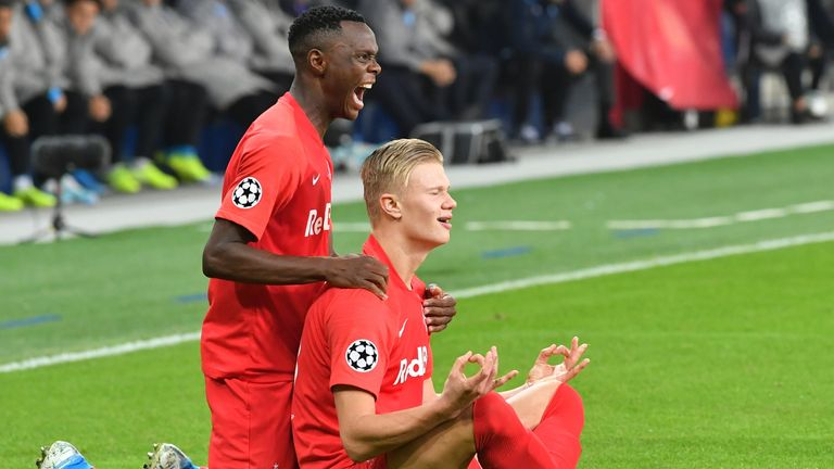 Patson Daka crossed paths with Erling Haaland at Red Bull Salzburg (AP)