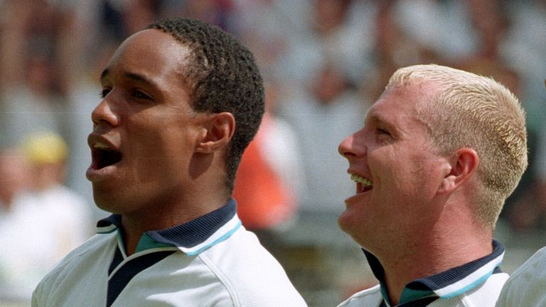 15 June 1996 - Euro 96 - Group Stage - Scotland v England - Paul Ince, Paul Gascoigne and Teddy Sheringham of England sing the national anthem. - Photo by Mark Leech / Offside..
