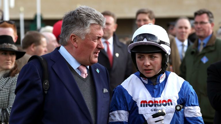 Paul Nicholls with jockey Bryony Frost at the Cheltenham Festival