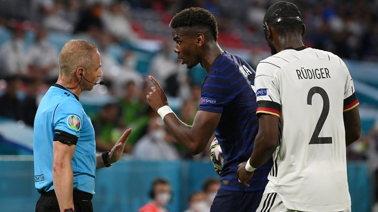 Paul Pogba was spotted reacting angrily after a clash with Chelsea defender Antonio Rudiger