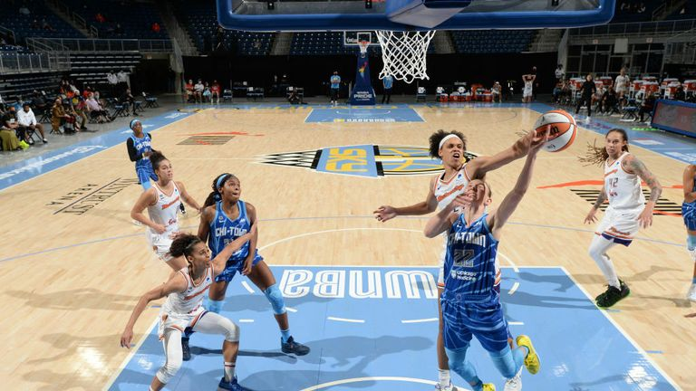 UNE 1: Brianna Turner #21 of the Phoenix Mercury blocks the ball against Courtney Vandersloot #22 of the Chicago Sky during the game on June 1, 2021 at the Wintrust Arena in Chicago, Illinois. (Photo by Randy Belice/NBAE via Getty Images)