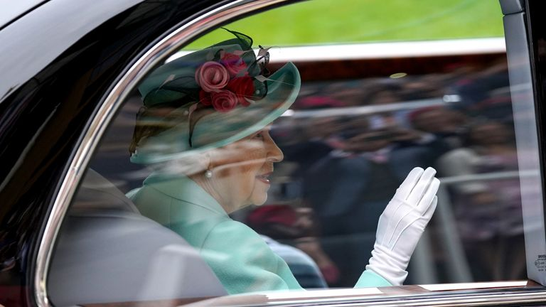 Her Majesty the Queen arrives at Royal Ascot for the final day of the 2021 meeting