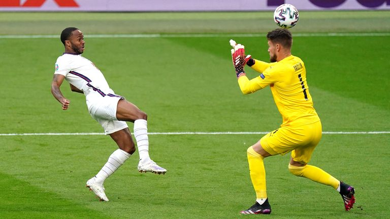 Raheem Sterling hit the post early on against Czech Republic after lobbing the keeper