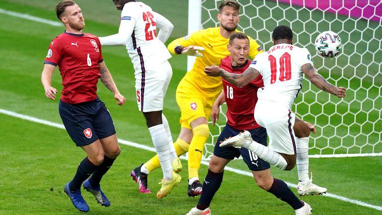 Raheem Sterling heads England ahead against Czech Republic