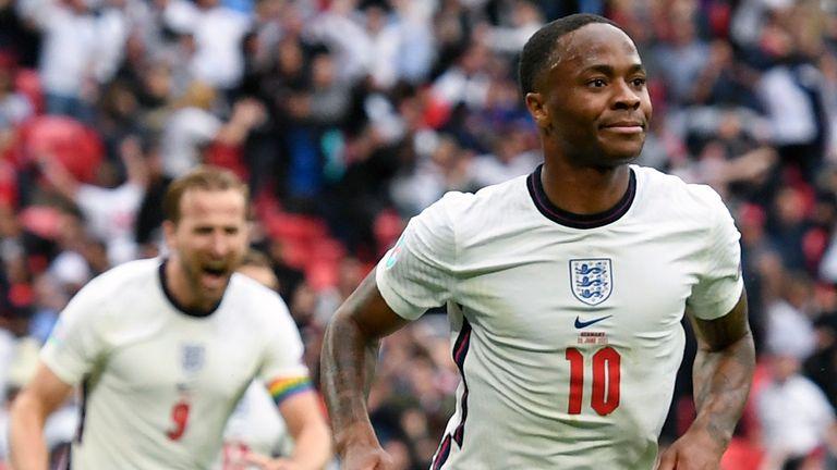 Raheem Sterling and Harry Kane celebrate at Wembley