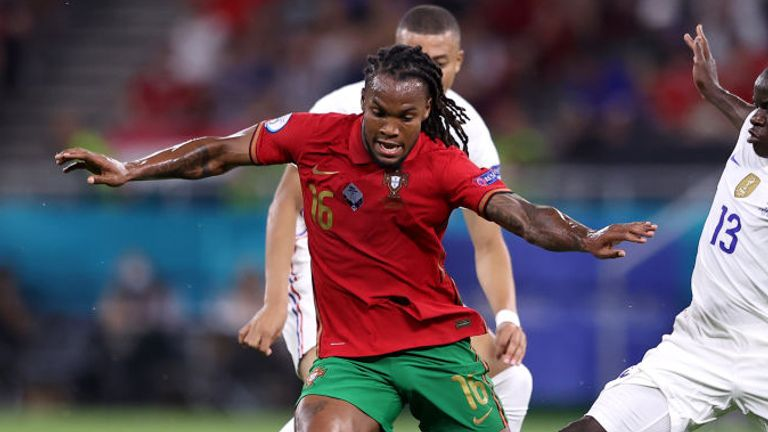 Renato Sanches is challenged by N'Golo Kante as Portugal face France at Euro 2020