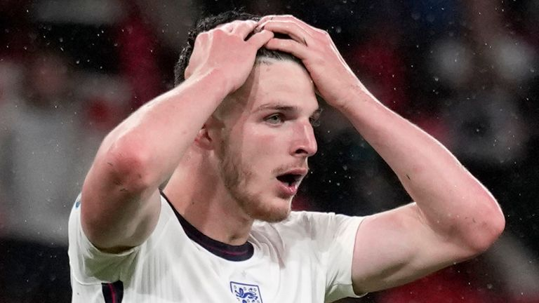 England's Declan Rice, center, reacts after a missed chance to score during the Euro 2020 soccer championship group D match between England and Scotland at Wembley stadium in London, Friday, June 18, 2021. (AP Photo/Frank Augstein, Pool)