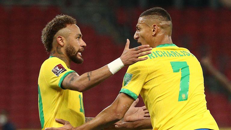Richarlison and Neymar celebrate Brazil's opening goal
