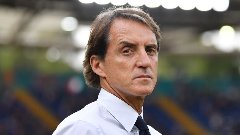 Roberto Mancini pictured during Italy's game against Wales at Euro 2020