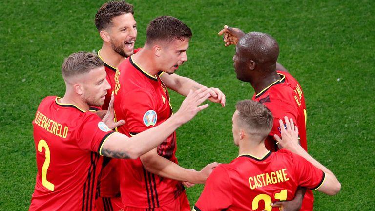 Romelu Lukaku celebrates after opening the scoring for Belgium against Russia