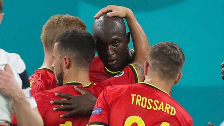 Romelu Lukaku is congratulated after scoring for Belgium against Finland