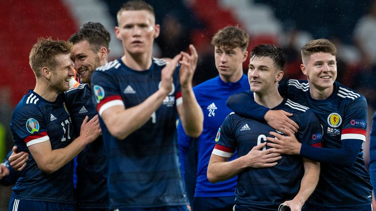 Scotland celebrate their hard-fought draw with England at Wembley during their Euro 2020 encounter