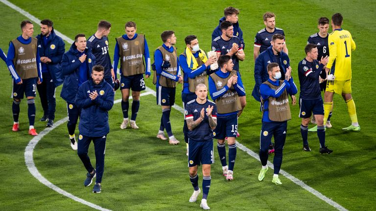 The Scotland players at full time after their Euro 2020 defeat to Croatia