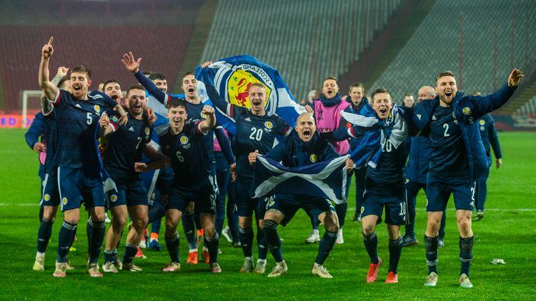 BELGRADE, SERBIA - NOVEMBER 12: Scotland's players celebrate after David Marshall saves Aleksandar Mitrovi..'s penalty during the UEFA Euro 2020 Qualifier between Serbia and Scotland at the Stadion Rajko Mitic on November 12, 2020, in Belgrade, Serbia. (Photo by Nikola Krstic / SNS Group)