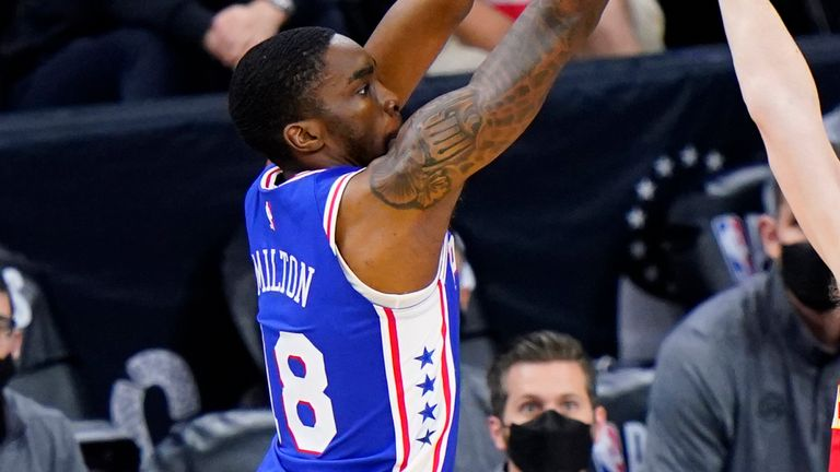 Shake Milton fires off a shot in Game 2 against the Atlanta Hawks
