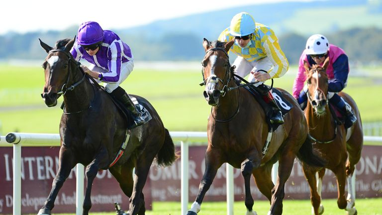 Shale wins the Group One Moyglare Stud Stakes at the Curragh last September