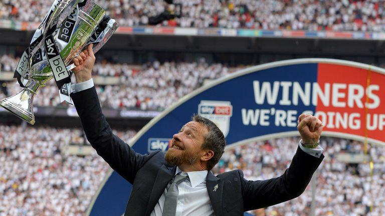 Slavisa Jokanovic celebrates play-off success with Fulham in 2018
