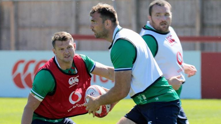 Dan Biggar looks to tackle Beirne during a Lions training session