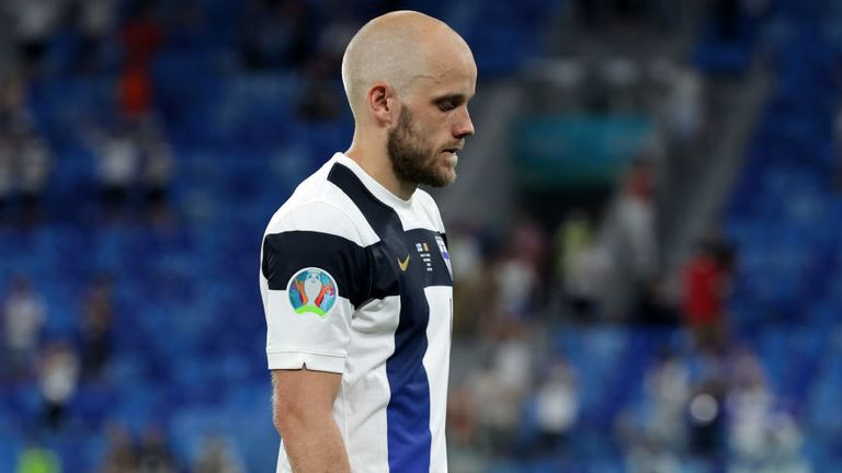 Teemu Pukki looks dejected as Finland missed out on second place in Group B