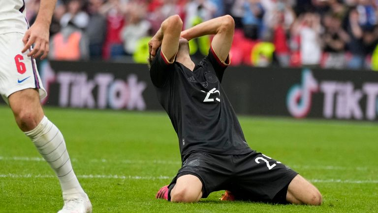Thomas Muller reacts after missing a golden opportunity to draw Germany level