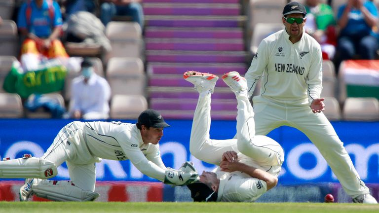 Tim Southee dropped Rishabh Pant on five at slip as the India batsman pushed at a delivery from the impressive Kyle Jamieson