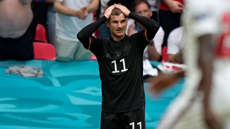 Timo Werner reacts after being denied by Jordan Pickford