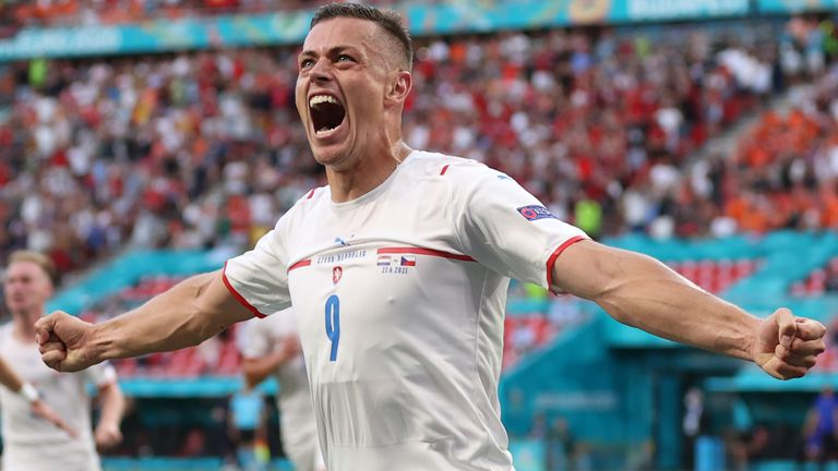 Tomas Holes celebrates putting the Czech Republic ahead against the Netherlands
