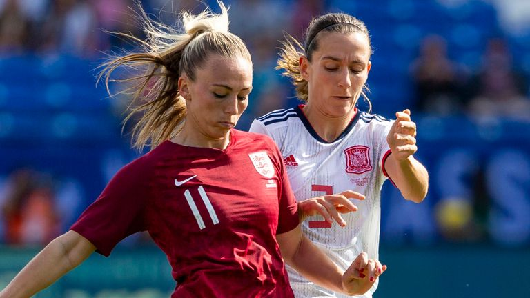 Toni Duggan (L) last featured for the Lionesses in the 2020 SheBelieves Cup