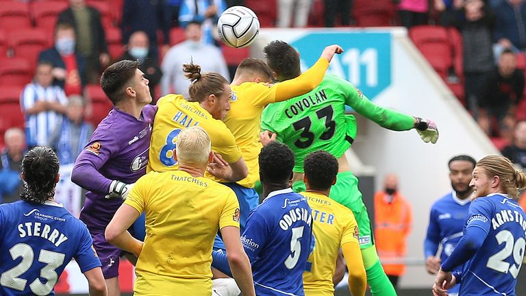 Torquay goalkeeper Lucas Covolan scores stoppage-time equaliser against Hartlepool in National League play-off final (PA)