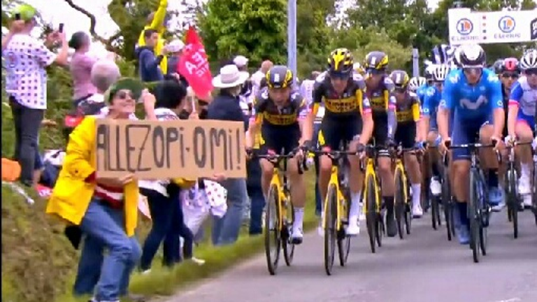 The fan who caused the crash on the first day of the Tour de France with a cardboard sign (Pic: Gendarmerie du Finistere)