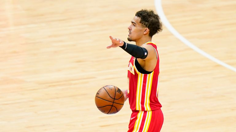 Atlanta Hawks' Trae Young plays during Game 2 in a second-round NBA basketball playoff series against the Philadelphia 76ers