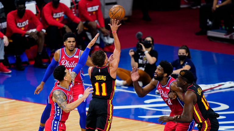 Atlanta Hawks' Trae Young plays during Game 1 of the second-round NBA basketball playoff series against the Philadelphia 76ers