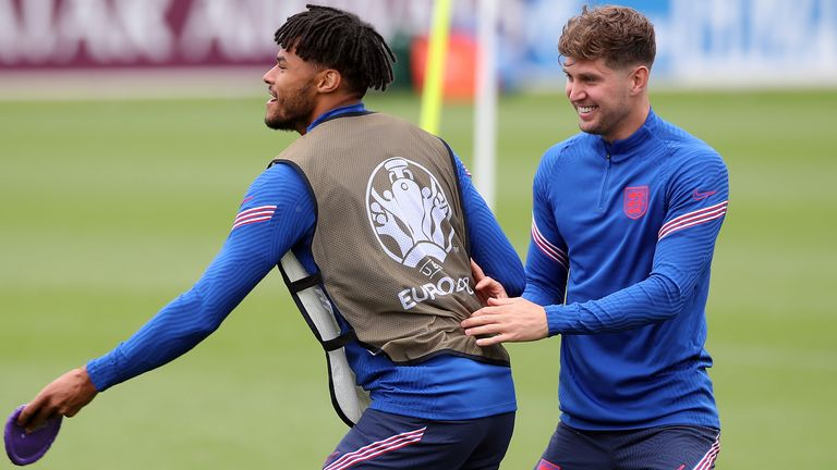 England�s Tyrone Mings (left) and John Stones during the training session at St George's Park, Burton upon Trent. Picture date: Thursday June 17, 2021.
