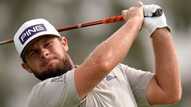 Tyrrell Hatton plays his shot from the second tee during the first round of the U.S. Open Golf Championship, Thursday, June 17, 2021, at Torrey Pines Golf Course in San Diego. (AP Photo/Gregory Bull)