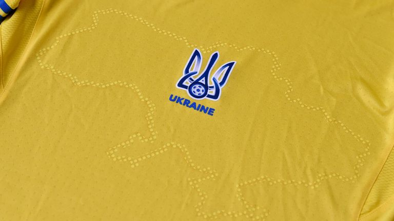 """June 6, 2021 - a EURO 2020 jersey of the Ukrainian national football team. - Ukraine provoked Moscow's ire on June 6, 2021 as its football federation unveiled Euro 2020 uniforms that feature Russian-annexed Crimea and nationalist slogans. The uniforms in the blue-and-yellow colours of the Ukrainian flag feature the silhouette of Ukraine that includes Russia-annexed Crimea and the separatist-controlled regions of Donetsk and Lugansk as well as the words """"Glory to Ukraine!"""