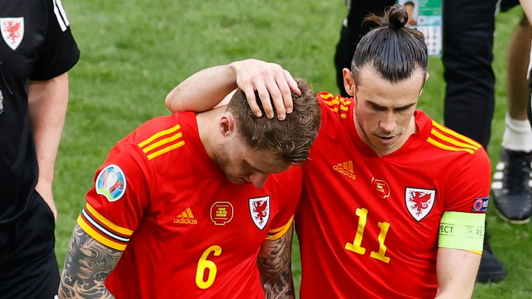 Gareth Bale and Joe Rodon after Wales' defeat to Denmark